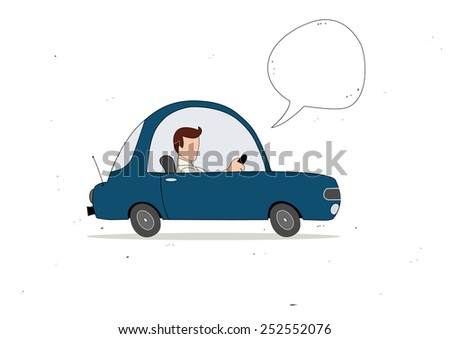 Blue simple cartoon car driver with speech bubble - stock vector