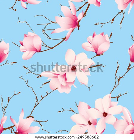 Blue skies and magnolia flowers seamless vector pattern - stock vector