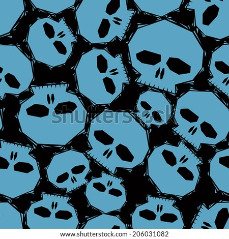 Blue skulls over black background seamless pattern, geometric contemporary style repeating vector background, best for use as web backgrounds and wallpapers. - stock vector