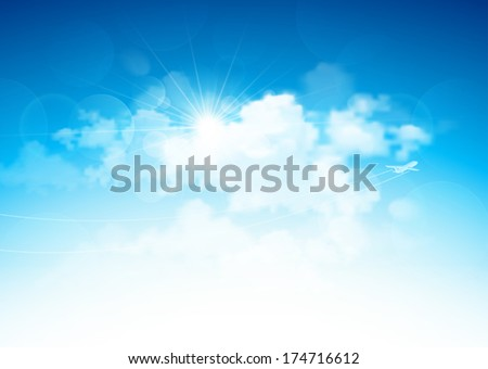 Blue sky and clouds - stock vector