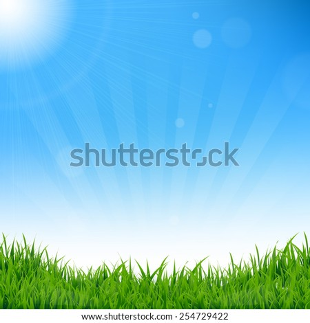 Blue Sky And Grass Background With Gradient Mesh, Vector Illustration - stock vector