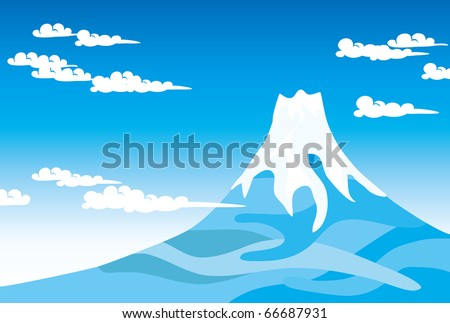 Blue sky and Mount Fuji - stock vector