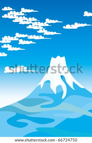 Blue sky and Mount Fuji (Vector illustration) - stock vector