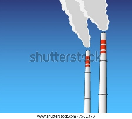 blue sky chimney environment in danger smoke exhaust ecology industrial climate pollution vector illustration background abstract