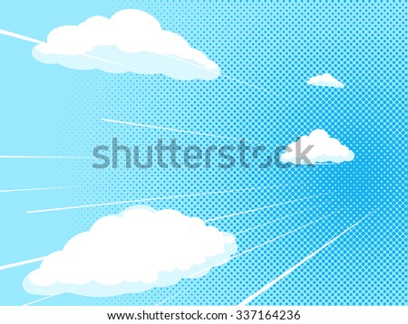 Blue sky comic book pop art halftone texture style vector illustration