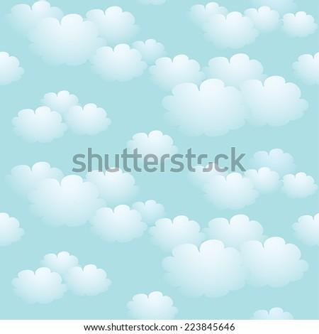 Blue sky seamless background - stock vector