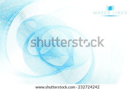 blue sky soft waves line fractal light abstract background vector - stock vector