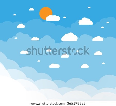 Blue sky with clouds and sun. vector illustration in flat design - stock vector
