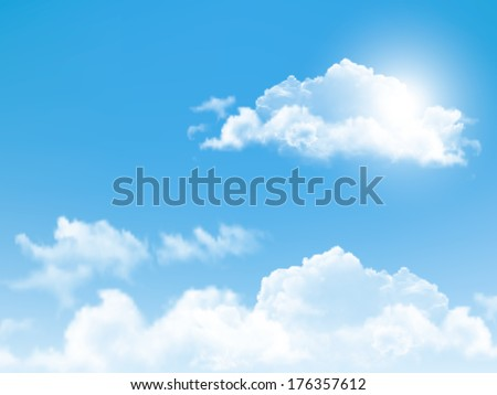 Blue sky with clouds. Vector background.  - stock vector