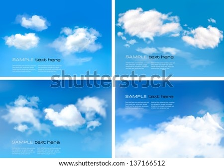 Blue sky with clouds. Vector backgrounds. - stock vector
