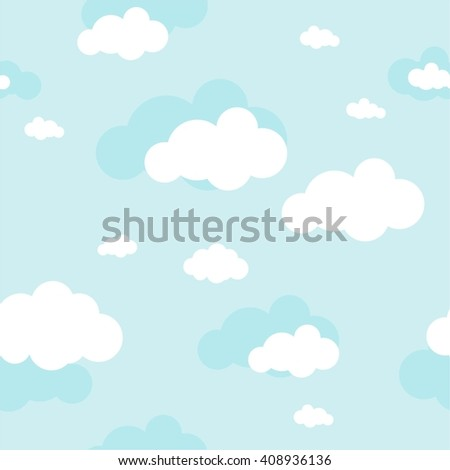 Blue sky with clouds, vector seamless background - stock vector