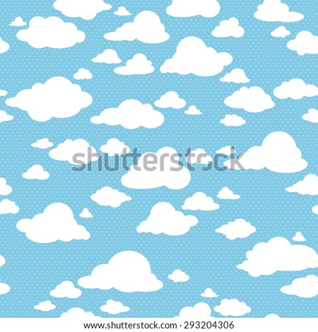 Blue sky with clouds, vector seamless pattern - stock vector