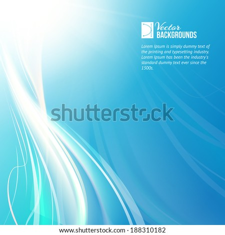 Blue sky with glowing rays and lines. Vector illustration. - stock vector