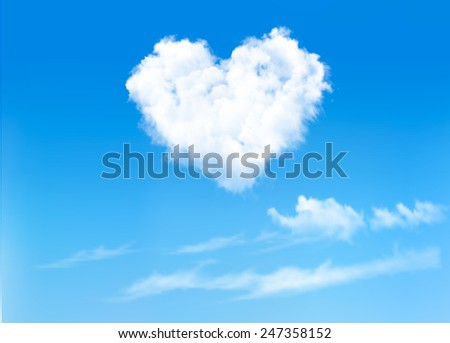 blue sky with hearts shape clouds. Valentine's holiday background. Vector - stock vector