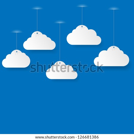 Blue sky with paper clouds. Vector illustration