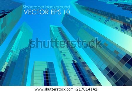 Blue Skyscrapers - stock vector