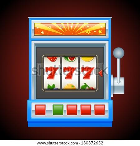 Blue slot machine - stock vector
