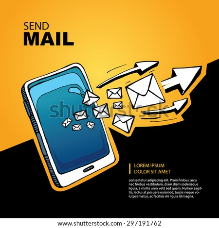 Blue Smart phone and envelope - sms and mail concept picture. Hand drawn series of the flying letters with arrows to right direction. Yellow Background with place for your text - stock vector