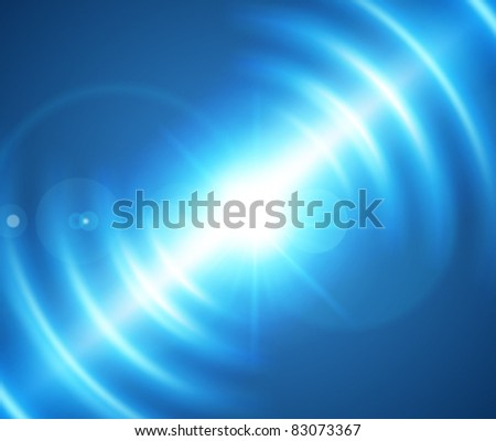 Blue smooth light lines with lens effect vector background. Eps 10. - stock vector