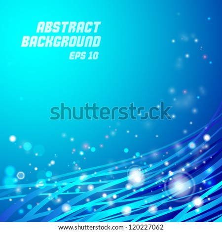Blue smooth twist light lines - stock vector