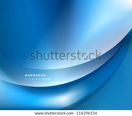 Blue smooth wave template. Abstract background - vector eps10 illustration - stock vector