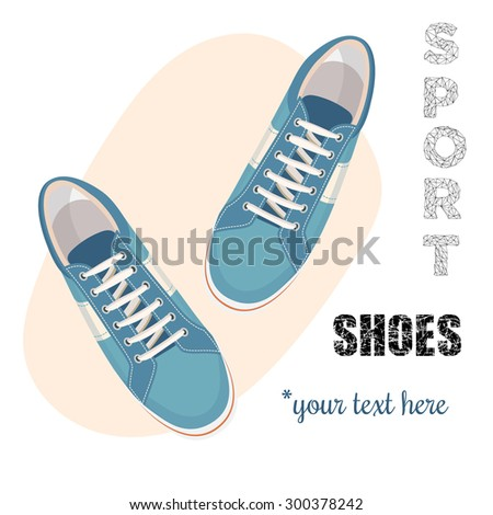 Blue sneakers for unisex. Sport shoes. Vector illustration isolated on white background. - stock vector