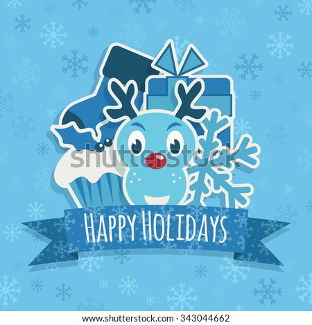 blue snowflake background with christmas ornaments and ribbon with seasonal message - stock vector