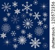 blue snowflakes collection on white background - stock vector