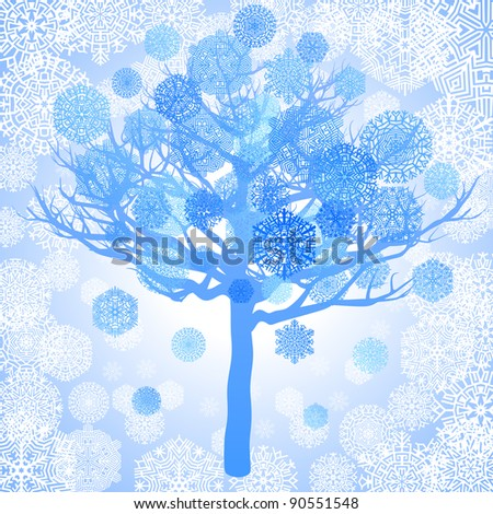Blue snowflakes on the tree, abstract background, vector illustration - stock vector