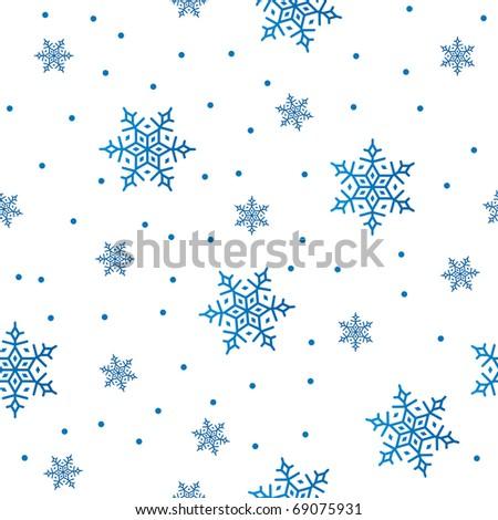 blue snowflakes on white, seamless - stock vector
