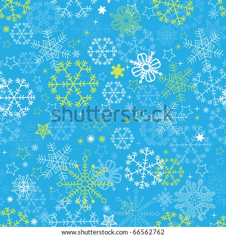 Blue snowflakes seamless pattern - stock vector