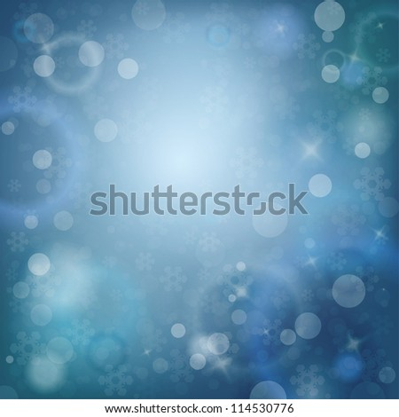 Blue Snowy Abstract Winter Template with place for text - stock vector