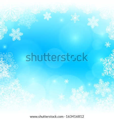 Blue snowy blurred background - stock vector