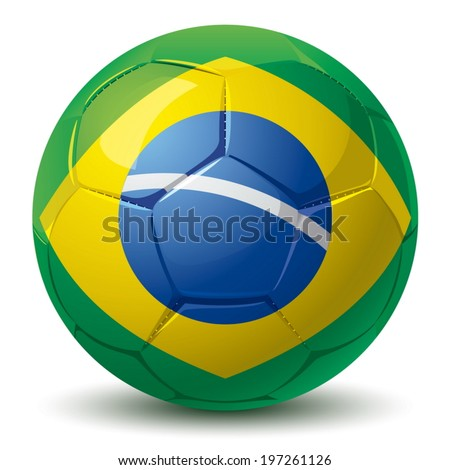 blue soccer bali with brazilian flag pattern - stock vector