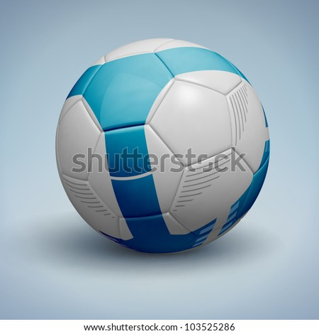 Blue soccer ball. Vector Illustration