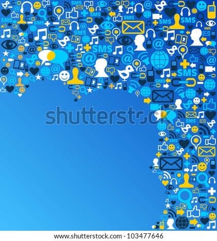 Blue social media icons set in cloud shape layout. Vector file layered for easy manipulation and custom coloring. - stock vector