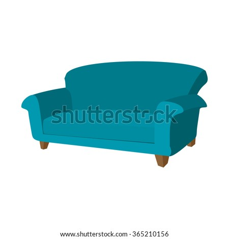Blue sofa cartoon icon on a white background - stock vector