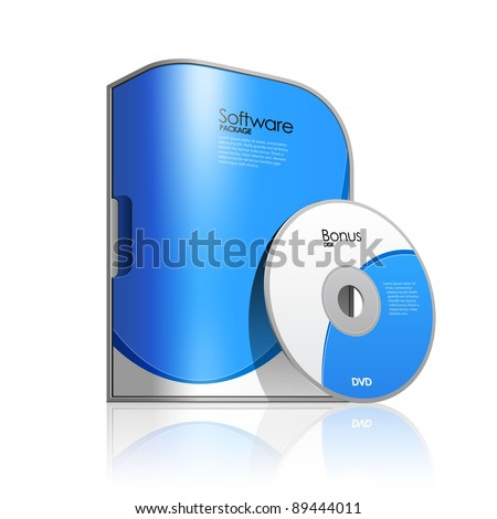 Blue Software Box With Rounded Corners - stock vector