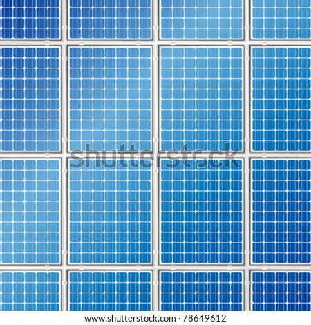 Blue solar panel detailed background. Vector illustration. - stock vector