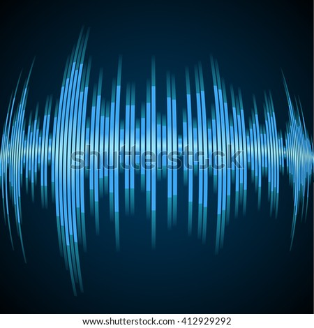 Blue sound wave on a dark background