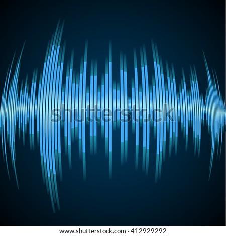 Blue sound wave on a dark background - stock vector