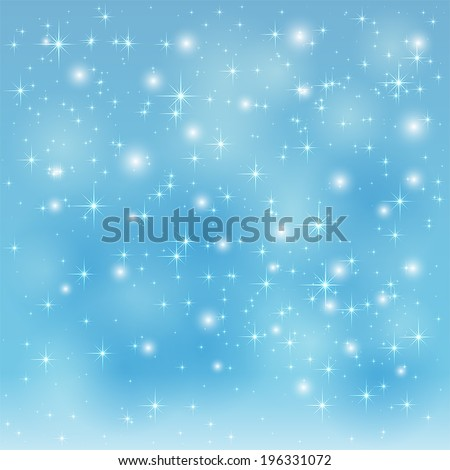 Blue sparkle background with shining stars and blurry lights, illustration. - stock vector