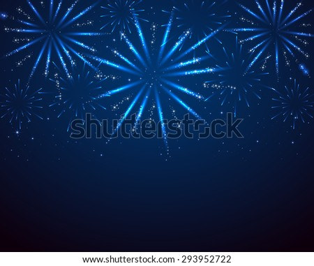 Blue sparkle fireworks on dark background, illustration. - stock vector
