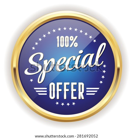 Blue special offer badge with gold border on white background - stock vector