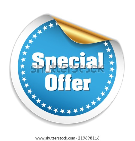Blue special offer sticker on white background - stock vector