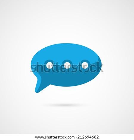 Blue Speech Bubble Icon. - stock vector