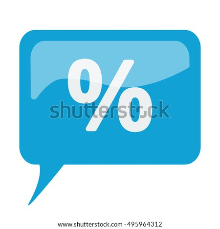 Blue speech bubble with white Percentage icon on white background