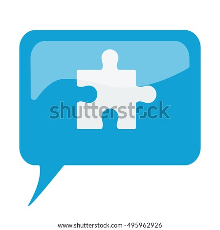 Blue speech bubble with white Puzzle icon on white background