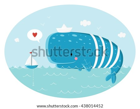 Blue sperm whale sailor and ship.  Vector illustration