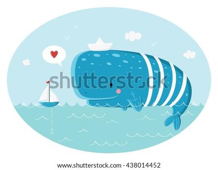 Blue sperm whale sailor and ship.  Vector illustration - stock vector